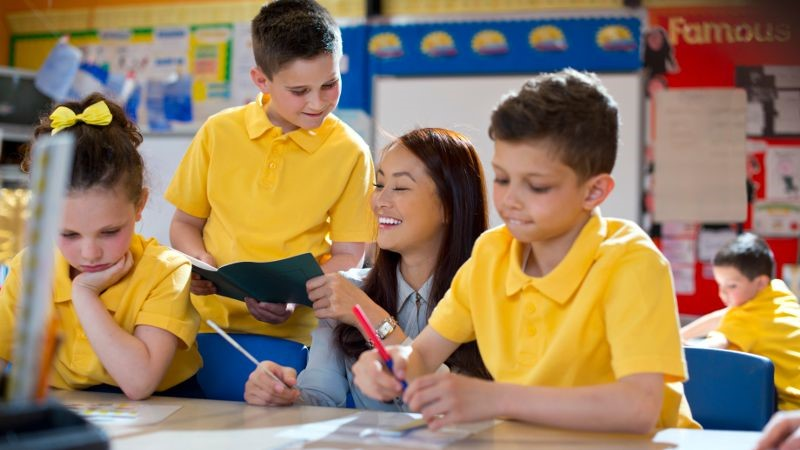 Group activity in a busy classroom.
