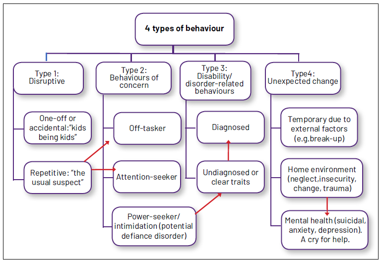 Table showing categories of behaviour.
