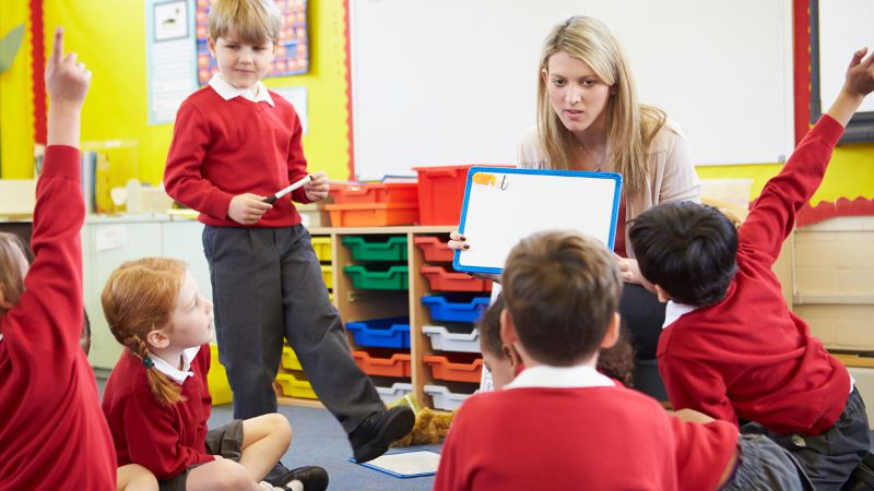 Teacher aide using best practice techniques and teaching skills in a school environment.