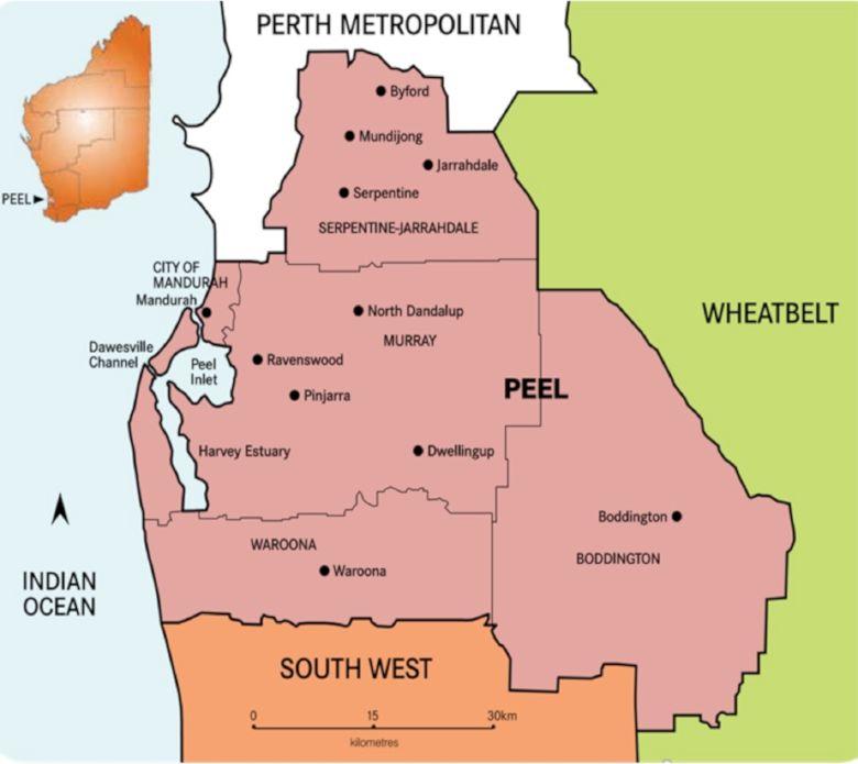 Peel region map