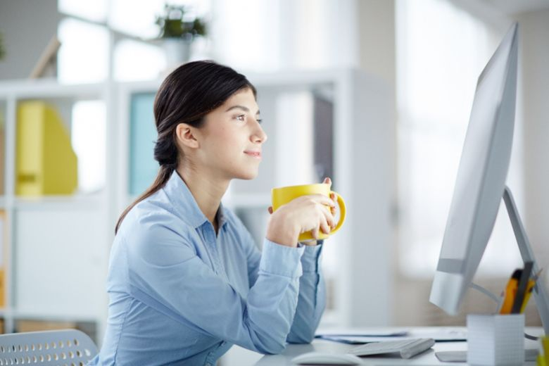 picture of female studying at computer