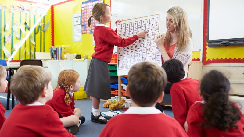 Teacher aide shown helping young students learn using a number table as a prop.