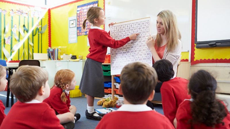 Teacher assistant educating students in front of a white board.
