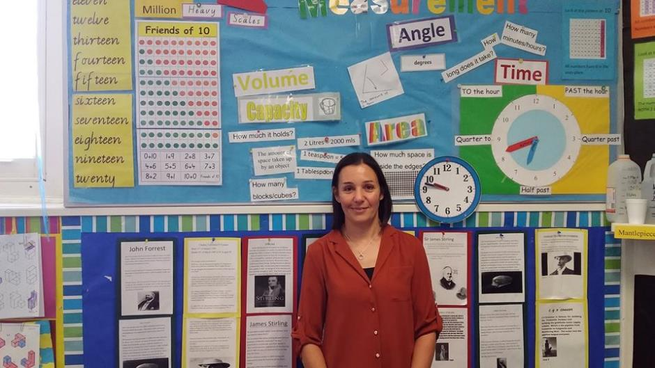 Female teacher aide in orange shirt standing in front of display of learning resources such as clock and lists of words.